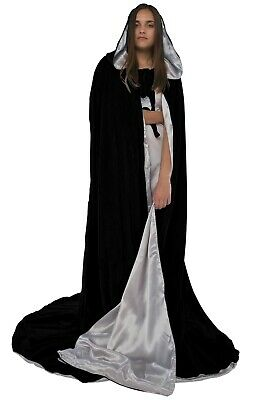 50 in Lined Black Silver Velvet Cosplay Cloak Cape Gothic Wicca Star Wars LARP