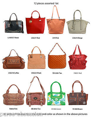 Wholesale Lot - 12 Women Assorted Designer Totes Satchels Handbags