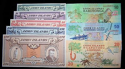 8 banknote collection-Jason Islands/Cook Islands-Uncirculated