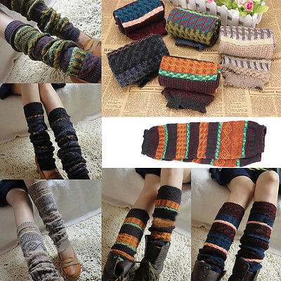 Womens Fashion Leg Warmers Striped Patchwork Knitted Boot Cuffs Leggings Socks