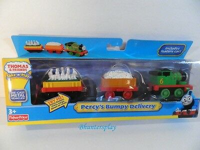 Thomas Train Friends Take N Play Percy's Bumpy Delivery 3 Car set Fisher Price