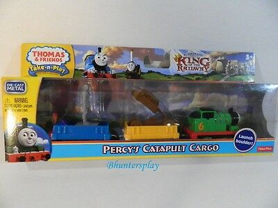 Thomas Train Friends Take N Play Percy's Catapult Cargo 3 Car set Fisher Price