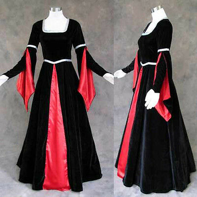 Black Red Medieval Renaissance Cosplay Gown Dress Costume LARP Goth Vampire XL