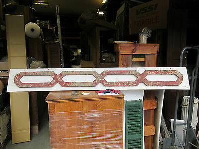 VICTORIAN GINGERBREAD pediment w/APPLIED fretwork detail RED & WHITE 85 x 10.5""
