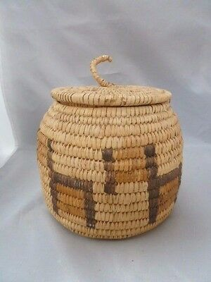 "Native American Weave Basket w/ Cover. Nice Design. Approx. 7.75"" T x 7.5"" D"