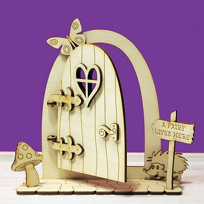 Fairy Door 3D Opening Wooden House Stone Elf Shapes Plywood Hedgehog NEW OFD2
