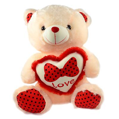"16"" Soft Teddy Bear Holding Head with Love and Bow for Valentine Gifts"