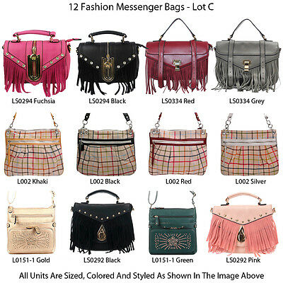 Wholesale Lot - Set of 12 - Women's Designer Crossbody Messenger Bags Handbags