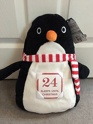 M&s Xmas Countdown Pyjama Bag Shaped As Soft Penguin With 24 Cards In Front-Bnwt
