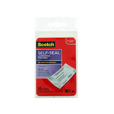 Scotch Self-Sealing Laminating Pouches, Business Card Size, Clear (S851-10G)