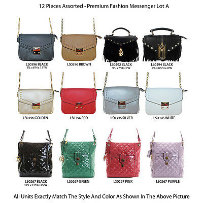 New Wholesale Lot - 12 Designer Vintage Pastel Crossbody Messenger Bag Handbags