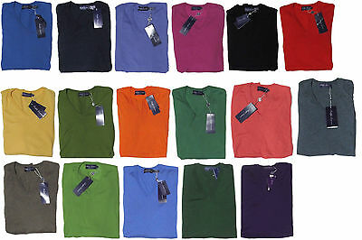 2869f8124  995 Ralph Lauren Purple Label Mens Italy V Neck Light Knit Cashmere Sweater  New