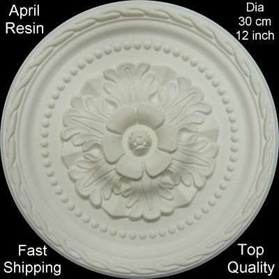 Ceiling Rose April Resin Strong Lightweight Design Not Polystyrene Easy Fix 30cm