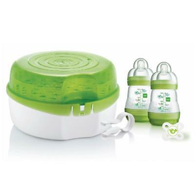 MAM Microwave Steam Steriliser Set (inc 2xBottles, Soother & Tongs)