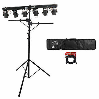 Chauvet DJ 6SPOT Portable LED Powered Color Changer System+Bag+Stand+DMX Cables