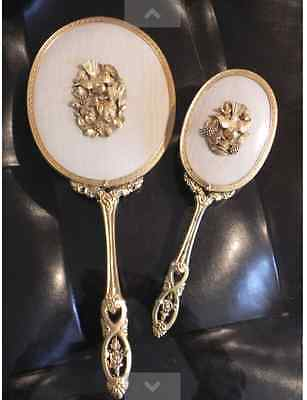 Set Ormolu Beveled Hand Mirror & Hair Brush Dogwood Bird Matson Vtg Vanity Set