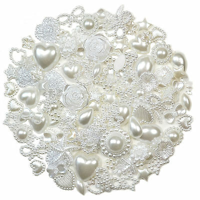 50pcs WHITE Flatback Pearl Embellishments Scrapbooking Hearts Wedding Craft