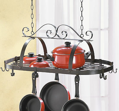 Wrought Iron Hanging Pots and Pans Kitchen Rack Holder NEW