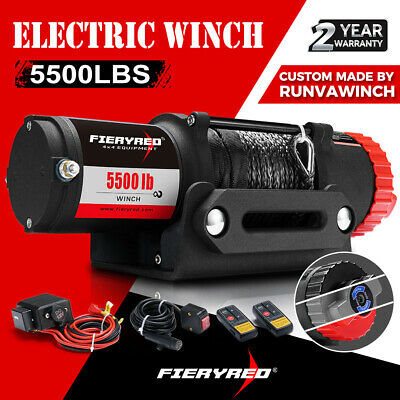 Fieryred 4500LBS/2041KG Electric Winch Wireless Synthetic Rope Remote 12V ATV