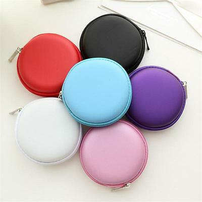 Round Portable Storage Bag Hard Case For SD TF Card Earphone Headphone Earbuds