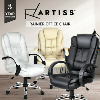 Executive Premium PU Leather Office Computer Work Chair Padded Black Beige Seat