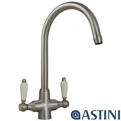Colonial Brushed Steel Double White Ceramic Handle Kitchen Sink Mixer Tap 7018