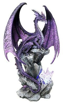 Large Hoarfrost Twilight Dragon Guarding LED Light Crystal Elements Statue