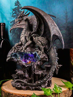 Elemental Quiksilver Bifrost Dragon Guarding LED Light Blue Crystal Cave Statue