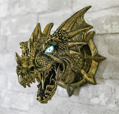 Castle Dungeon Chained Golden Dragon Wall Plaque Decor Color Changing LED Eyes
