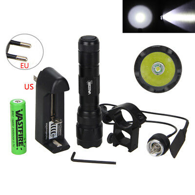 5000LM XM-L T6 LED Tactical Flashlight Hunting Light Torch Remote Switch + Mount