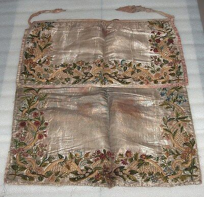 Antique Ottoman Silk Apron With Embroidery, Beg. Of Xix Century?