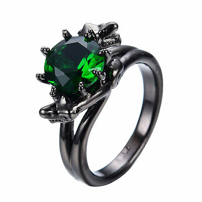 Gothic Snake Green Emerald  Wedding Ring 10KT Black Gold Filled Jewelry Size6-10