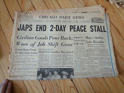 Chicago Daily News Newspaper WWII August 17 1945 Japan Ends 2 Day Peace Stall