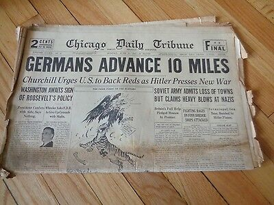 Chicago Daily Tribune Newspaper WWII June 23 1941 Germans Advance 10 Miles
