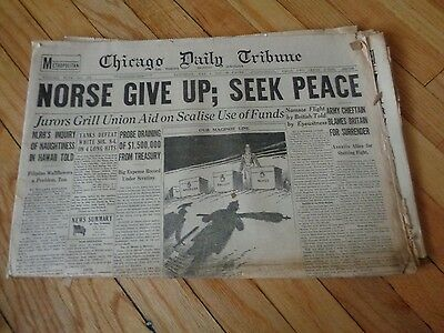 Chicago Daily Tribune Newspaper WWII May 4 1940 Norse Give up Seek Peace