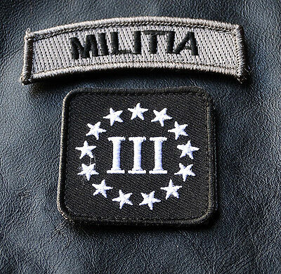 Militia Rocker Tab Three 3% Percenter 2Pc  Tactical Morale Acu Hook Patch