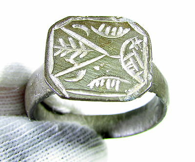 Rare Medieval Bronze Heraldic Seal Ring - Family Crest On Bezel- Wearable - Jk25