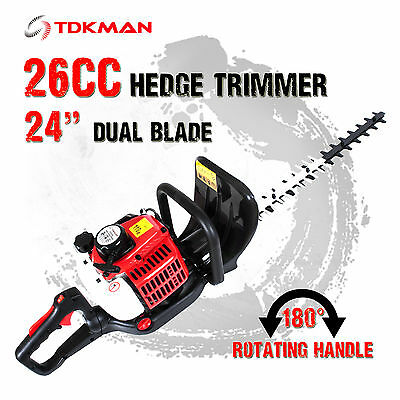 New 26CC Petrol Hedge Trimmer Clipper Saw Precision Dual Blade Garden Pruner