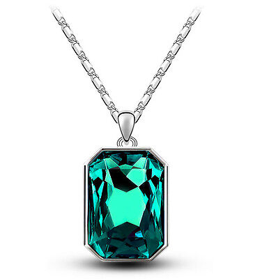 Emerald Crystal Green & Silver Rectangle Pendant Crystal Necklace N365