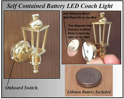 1/12 Working LED Battery (no wiring Needed) Dolls House Brass Coach Wall Light