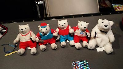Coca Cola Plush Polar Bear 2004 Olympics Lot of 5