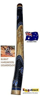 Didgeridoo Burnt Hardwood 90Cm Aboriginal Beautifully Hand Painted New Bl