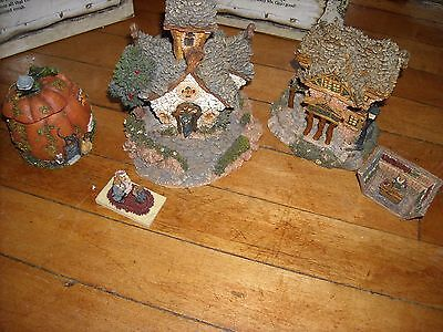 boyds teddy bear miniature bearly built village set lot Library chapel in woods