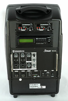 Chiayo StageMan 150W portable PA with 2x wireless microphones, Cd player USB