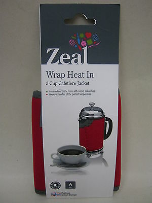 New Zeal Cafetiere Insulated Thermal Heat Wrap Jacket 3 Cup Red   C123