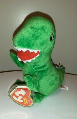 Ty Beanie Baby ~ MR. DINOSAUR the UK Peppa Pig Theme Park Exclusive ~ MINT ~NEW