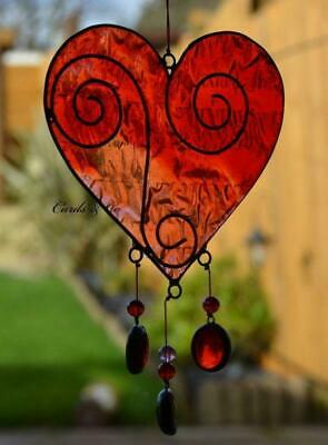 Stained Glass Red - Pink Love Heart Hanging Sun Catcher Home - Window Decoration