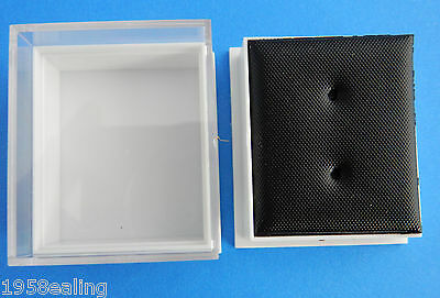 Wholesale  40 Plastic Clear Lid Earring Display Boxes Black Leatherette Inserts
