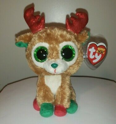 Ty Beanie Boos ~ ALPINE the Reindeer (6 Inch)(Red Antlers) NEW MWMT