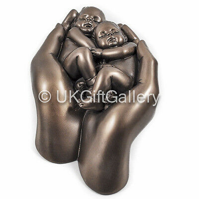 Twin Babies In Hand Statue Bronze Twins Baby Ornament Sculpture Figurine New In